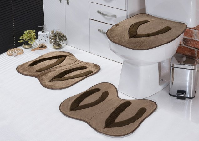 Jogo de Banheiro Padrão em Pelúcia Chinelo 3 PEÇAS Tecido Superior: 100% Acrílico Base: 100% Poliéster Emborrachado: 100% E.V.A