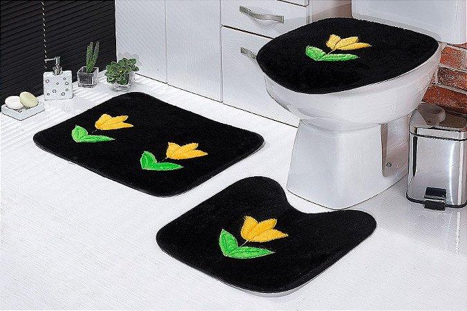 Jogo de Banheiro Padrão em Pelúcia Tulipa 3 PEÇAS Tecido Superior: 100% Acrílico Base: 100% Poliéster Emborrachado: 100% E.V.A