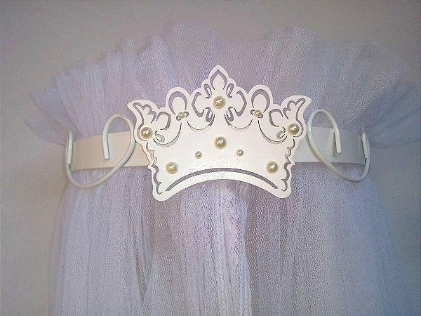 Dossel Largo Arabesco Branco Com Coroa + Véu Mosquiteiro Em Tecido Filó