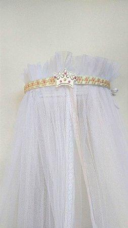 Dossel Coroa Largo Branco Decorado Com Pérolas Palha E Pink + Véu Mosquiteiro Em Tecido Filó