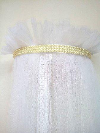 Dossel Largo Branco Decorado Com Pérolas Palha + Véu Mosquiteiro Em Tecido Filó