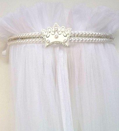 Dossel Coroa Branco Largo Decorado Com Pérolas E Strass + Véu Mosquiteiro Em Tecido Filó