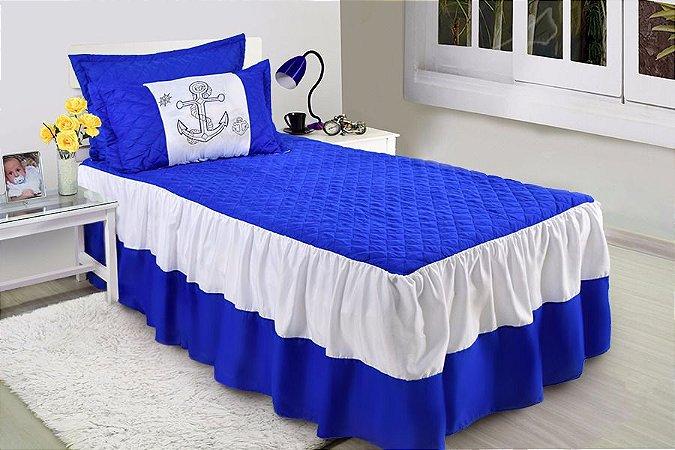 Kit Colcha Cobre Leito Âncora Azul Com Branco Solteiro 03 Peças