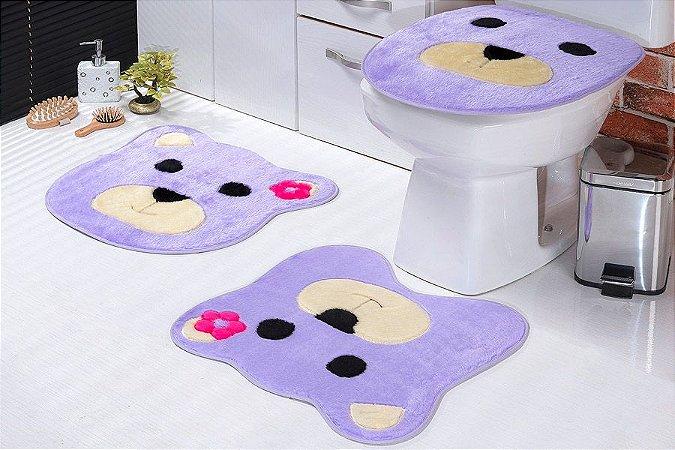 Jogo de Banheiro em Pelúcia - Ursa 3 PEÇAS Tecido Superior: 100% Acrílico Base: 100% Poliéster