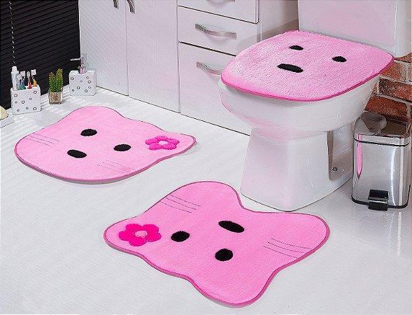 Jogo de Banheiro em Pelúcia - Gatinha 3 PEÇAS Tecido Superior: 100% Acrílico Base: 100% Poliéster