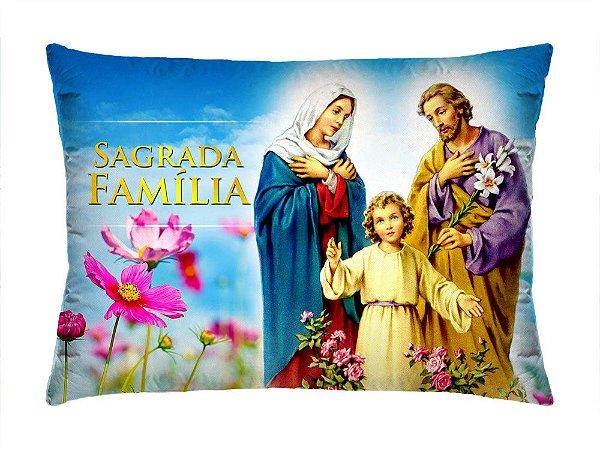 Almofada Retangular 35cm x 26cm + Capa Com Estampa Sagrada Familia Ref.: T154