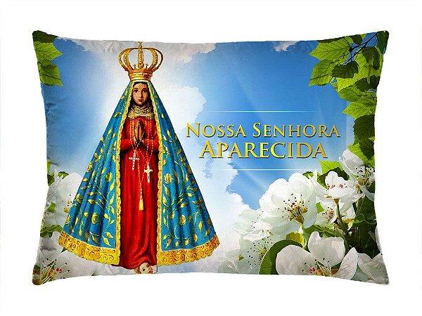 Almofada Retangular 35cm x 26cm + Capa Com Estampa Nossa Senhora Aparecida Ref.: T155