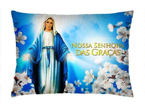 Almofada Retangular 35cm x 26cm + Capa Com Estampa Nossa Senhora Das Graças Ref.: T158