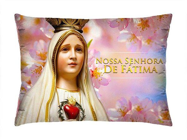 Almofada Retangular 35cm x 26cm + Capa Com Estampa Nossa Senhora De Fátima Ref.: T159