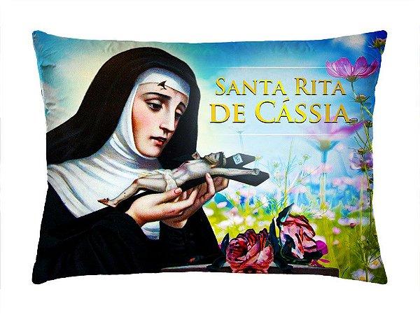 Almofada Retangular 35cm x 26cm + Capa Com Estampa Santa Rita De Cássia Ref.: T160