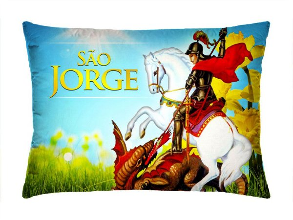 Almofada Retangular 35cm x 26cm + Capa Com Estampa São Jorge Ref.: T168