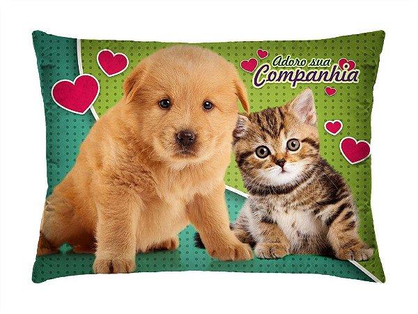 Almofada Retangular 35cm x 26cm + Capa Com Estampa De Animais E Mensagens De Amor Ref.: T192