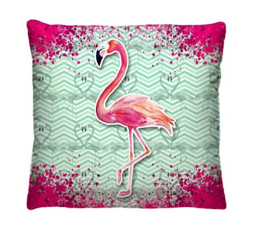 Almofada + Capa 40cm x 40cm Microfibra Com Estampa de Flamingo Ref. A351
