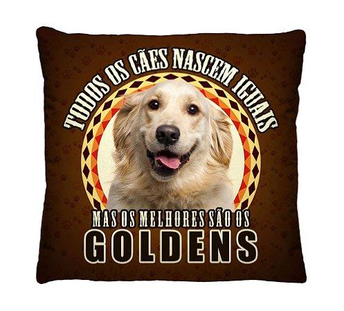 Almofada + Capa 40cm x 40cm Microfibra Com Estampa Do Cachorro Golden Ref. A386