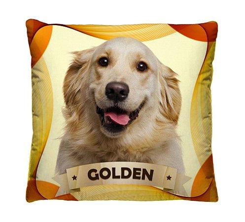 Almofada + Capa 40cm x 40cm Microfibra Com Estampa Do Cachorro Golden Ref. A401