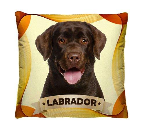 Almofada + Capa 40cm x 40cm Microfibra Com Estampa Do Cachorro Labrador Ref. A402