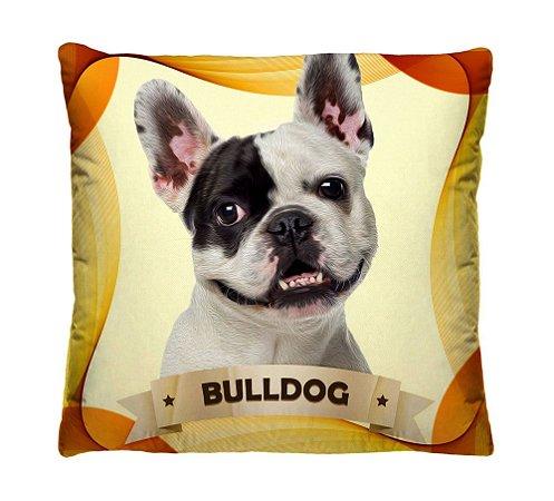 Almofada + Capa 40cm x 40cm Microfibra Com Estampa Do Cachorro Bulldog Ref. A406
