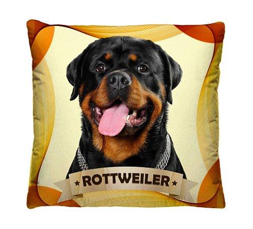 Almofada + Capa 40cm x 40cm Microfibra Com Estampa Do Cachorro Rottweiler Ref. A407