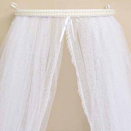 Dossel Branco Decorado Com Pérolas + Véu Mosquiteiro Em Tecido Tule