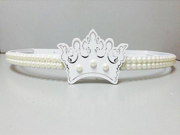 Dossel Coroa Branco Com Pérolas + Véu Mosquiteiro Em Tecido Voil