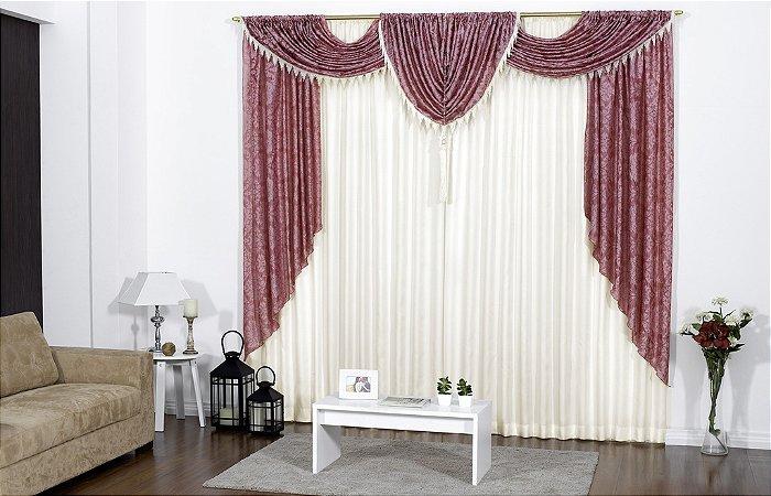 Cortina Vison Com Bandô Em Organza Floral E Pingente 3,00m x 2,80m Imperiale