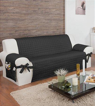 Protetor Para Sofá De 03 Lugares Lú Matelado Microfibra Com Laços No Braço E Fitas De Fixação No Encosto