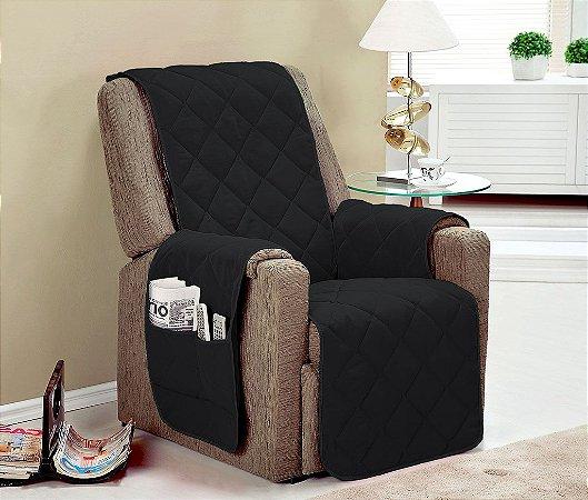 Protetor De Sofá Com Viés Matelado Microfibra Lú Para Poltrona Com Assento De 60cm