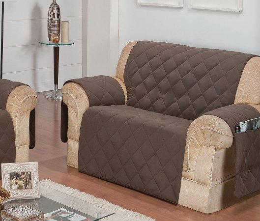 Protetor Para Sofá De 02 Lugares Com Assento De 1,00m Matelado Microfibra Lú