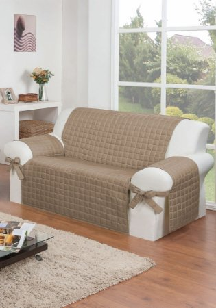 Protetor Para Sofá De 02 Lugares Com Assento De 90cm Lú Matelado Microfibra Com Laços No Braço E Fitas De Fixação No Encosto