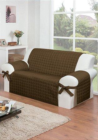 Protetor Para Sofá De 02 Lugares Com Assento De 1,10m Lú Matelado Microfibra Com Laços No Braço E Fitas De Fixação No Encosto