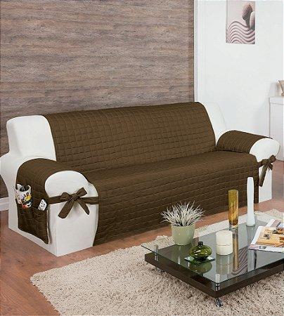 Protetor Para Sofá De 03 Lugares Com Assento De 1,90m Lú Matelado Microfibra Com Laços No Braço E Fitas De Fixação No Encosto