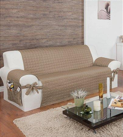 Protetor Para Sofá De 04 Lugares Com Assento De 2,50m Lú Matelado Microfibra Com Laços No Braço E Fitas De Fixação No Encosto