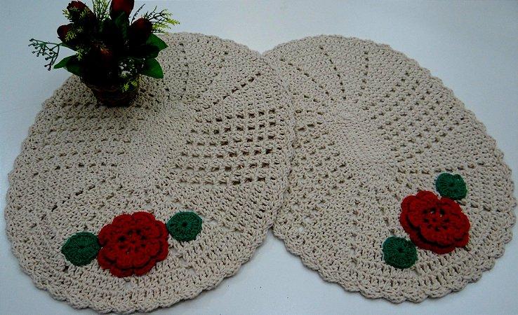 2 Tapetes de Crochê Oval Bordado 1 Flor
