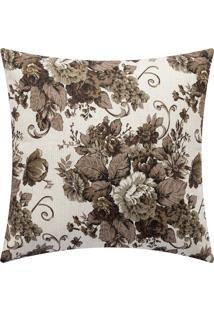 Capa de Almofada Estampada Floral Marrom