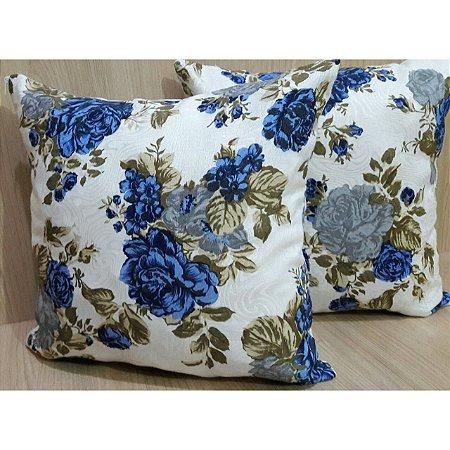 Capa de Almofada Estampada Floral Azul