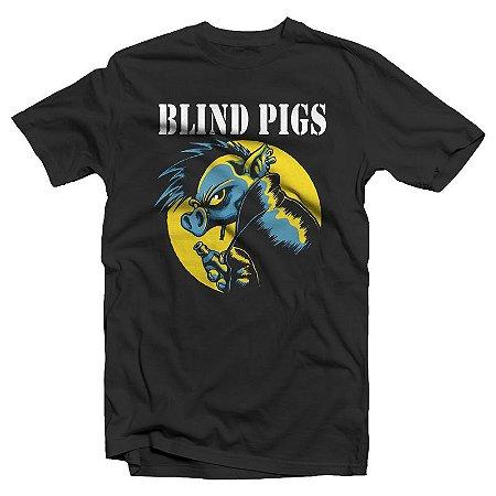 """Blind Pigs """"Porco"""" Camiseta Preta"""