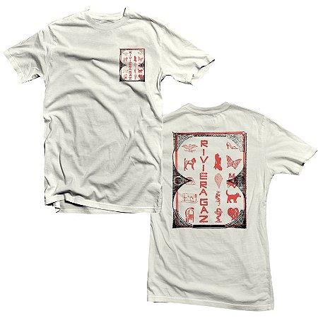 "Riviera Gaz ""Ícones"" Camiseta Creme"