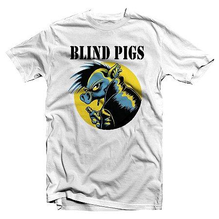 """Blind Pigs """"Porco"""" Camiseta Branca"""