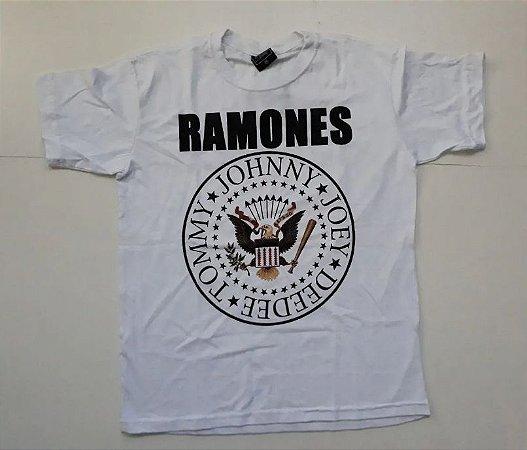 """Ramones """"Hey Ho Let's Go"""" Camiseta Branca"""