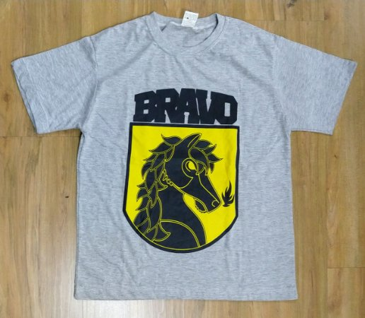 "Bravo ""Cavalo"" Camiseta Cinza Mescla"