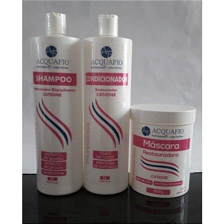 Kit Máscara Restauradora 900g, Shampoo 1L e Condicionador 1L - CATIONE Acquafio