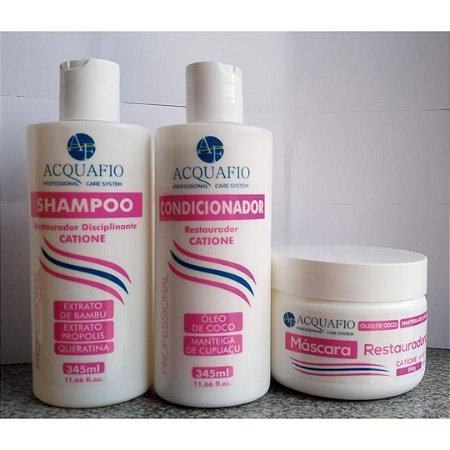 Kit Máscara Restauradora 250g, Shampoo e Condicionador 345ml - CATIONE Acquafio