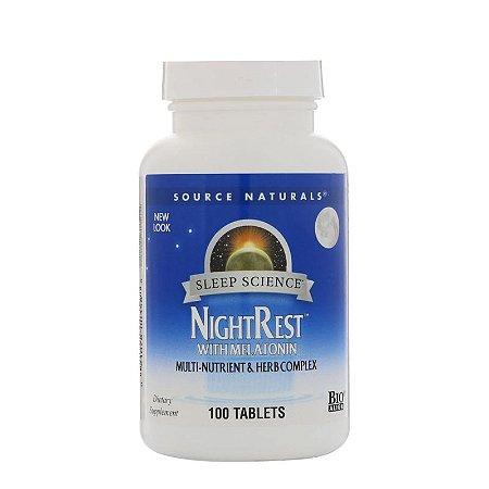 Night Rest com Melatonina, 100 comprimidos - Source Naturals