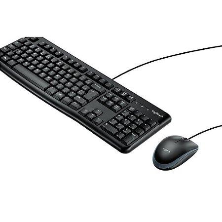 Teclado e Mouse Logitech MK120 Resistente à Água 1000DPI Preto ABNT2