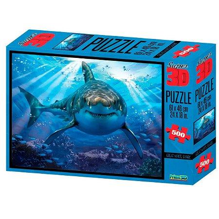 Quebra Cabeça Puzzle Super 3D Tubarão 500 Peças Multikids
