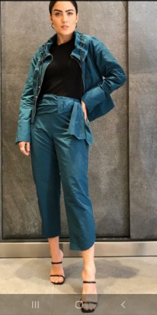 Conjunto Betelgeuse tafeta calça e jaqueta com ziper cor azul petróleo