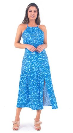 VESTIDO BANABANA LONGO VISCOSE HAPPY HOUR SKY