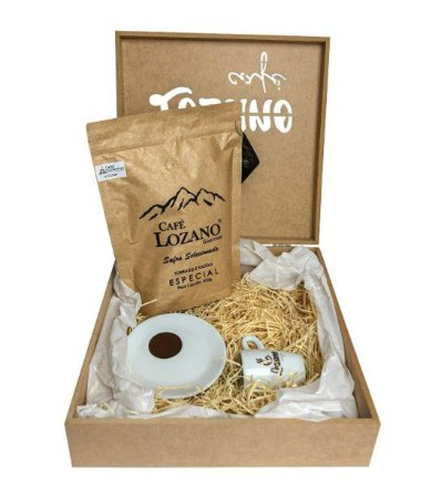 Kit Café Gourmet Torrado e Moído 500g. + Xícara e Pires de Porcelana + Caixa Personalizada
