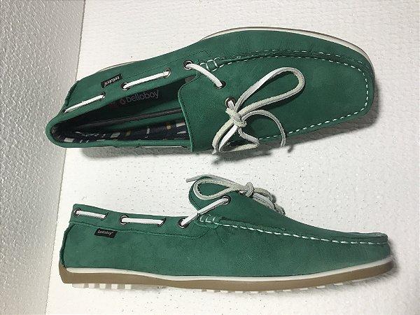 Sapato Mocassim Masculino em Couro Belloboy Casual Cadarço Verde