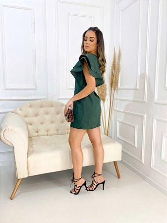 Vestido Chiara Manga Babado Verde Militar